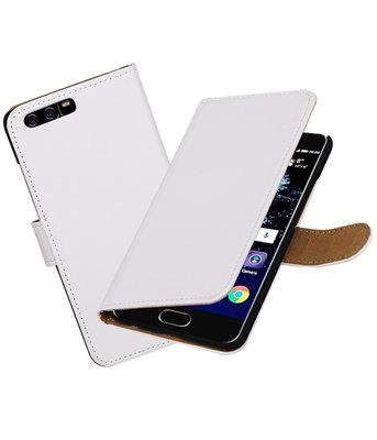Wit Effen booktype wallet cover Hoesje voor Huawei P10
