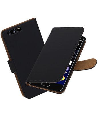 Zwart Effen booktype wallet cover Hoesje voor Huawei P10