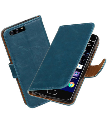 Blauw Pull-Up PU booktype wallet cover hoesje Huawei P10