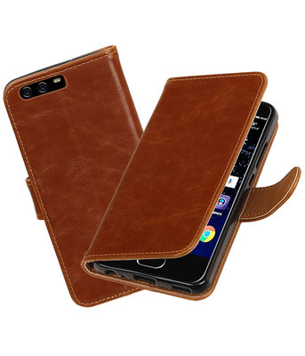 Bruin Pull-Up PU booktype wallet cover hoesje Huawei P10