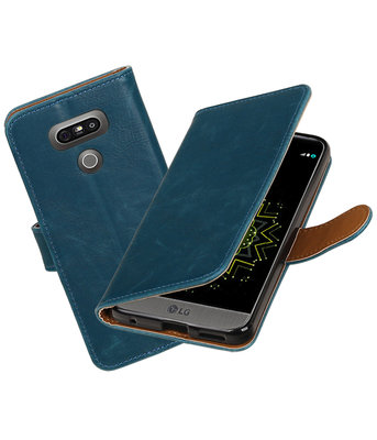 Blauw Pull-Up PU booktype wallet cover Hoesje voor LG G6