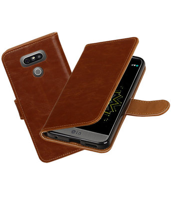 Bruin Pull-Up PU booktype wallet cover hoesje LG G6