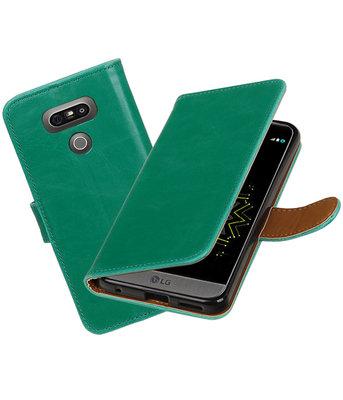 Groen Pull-Up PU booktype wallet cover Hoesje voor LG G6