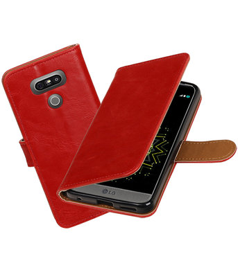 Rood Pull-Up PU booktype wallet cover hoesje LG G6