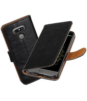 Zwart Pull-Up PU booktype wallet cover Hoesje voor LG G6