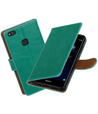 Groen Pull-Up PU booktype wallet cover Hoesje voor Huawei P10 Lite