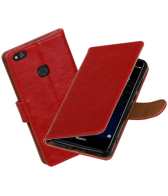 Rood Pull-Up PU booktype wallet cover Hoesje voor Huawei P10 Lite