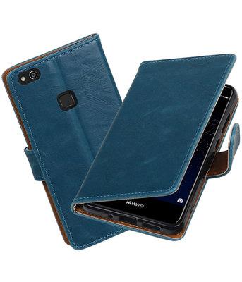 Blauw Pull-Up PU booktype Hoesje voor Huawei P10 Lite