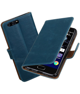 Blauw Pull-Up PU booktype Hoesje voor Huawei P10 Plus