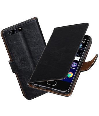 Zwart Pull-Up PU booktype Hoesje voor Huawei P10 Plus