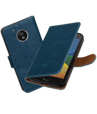Blauw Pull-Up PU booktype Hoesje voor Motorola Moto G5