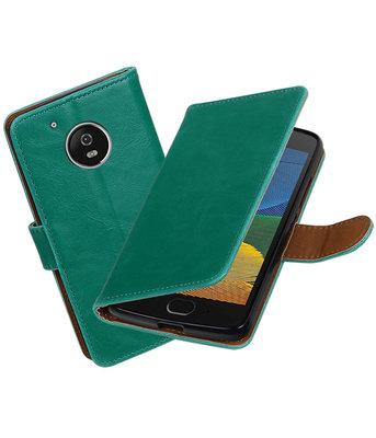 Groen Pull-Up PU booktype Hoesje voor Motorola Moto G5