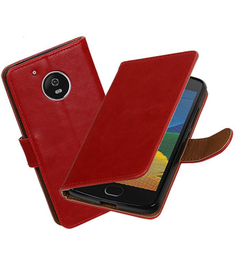 Rood Pull-Up PU booktype Hoesje voor Motorola Moto G5