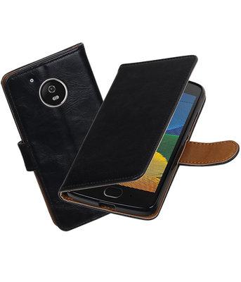 Zwart Pull-Up PU booktype Hoesje voor Motorola Moto G5