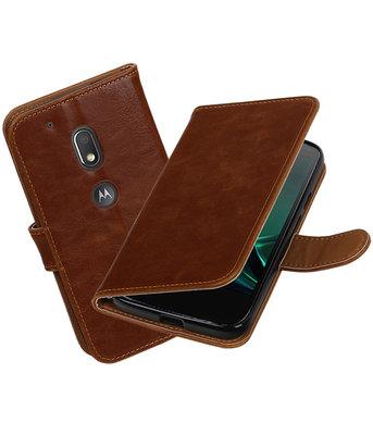 Bruin Pull-Up PU booktype Hoesje voor Motorola Moto G4 Play