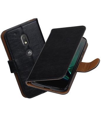 Zwart Pull-Up PU booktype Hoesje voor Motorola Moto G4 Play
