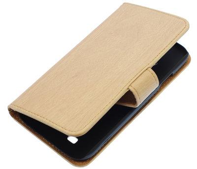 Beige Hout booktype Hoesje voor Samsung Galaxy S Advance i9070