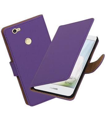 Paars Effen booktype voor Hoesje voor Huawei Nova