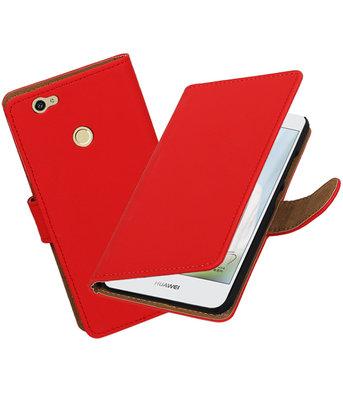 Rood Effen booktype voor Hoesje voor Huawei Nova