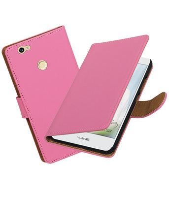 Roze Effen booktype voor Hoesje voor Huawei Nova