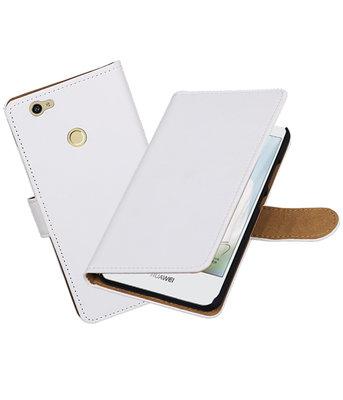 Wit Effen booktype voor Hoesje voor Huawei Nova