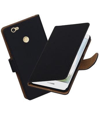 Zwart Effen booktype voor Hoesje voor Huawei Nova