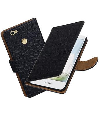 Zwart Krokodil booktype voor Hoesje voor Huawei Nova