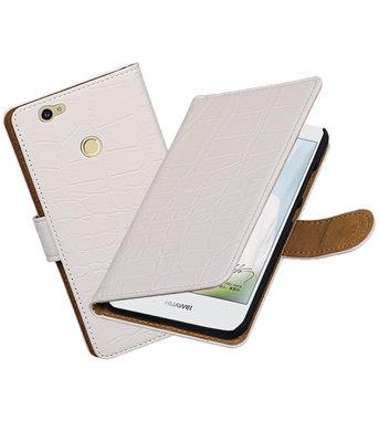 Wit Krokodil booktype voor Hoesje voor Huawei Nova