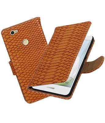 Bruin Slang booktype voor Hoesje voor Huawei Nova