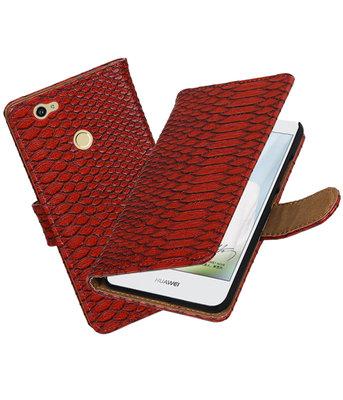 Rood Slang booktype voor Hoesje voor Huawei Nova