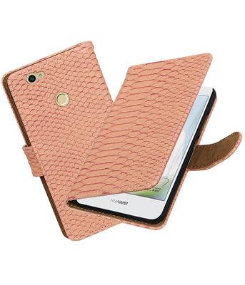 Roze Slang booktype voor Hoesje voor Huawei Nova