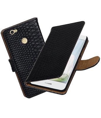 Zwart Slang booktype voor Hoesje voor Huawei Nova
