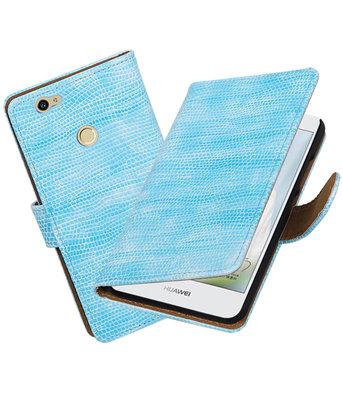 Turquoise Mini Slang booktype voor Hoesje voor Huawei Nova