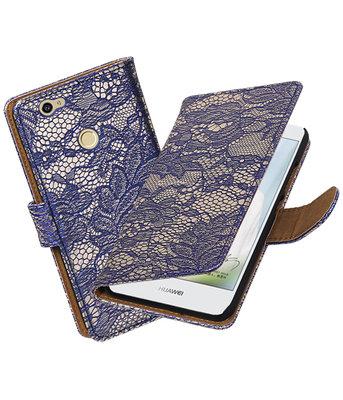 Blauw Lace booktype voor Hoesje voor Huawei Nova