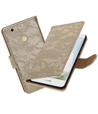 Goud Lace booktype voor Hoesje voor Huawei Nova