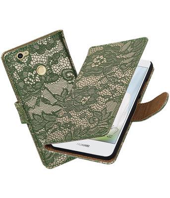 Donker Groen Lace booktype voor Hoesje voor Huawei Nova