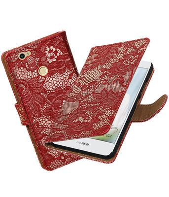 Rood Lace booktype voor Hoesje voor Huawei Nova