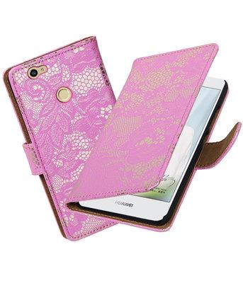 Roze Lace booktype voor Hoesje voor Huawei Nova