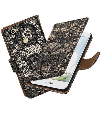 Zwart Lace booktype voor Hoesje voor Huawei Nova