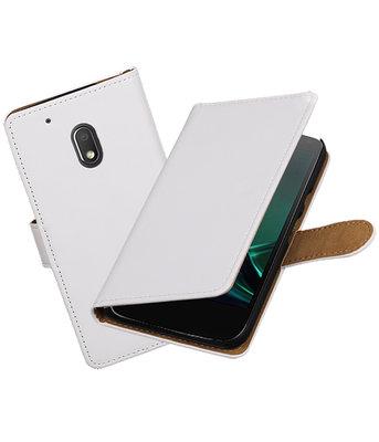 Wit Effen booktype voor Hoesje voor Motorola Moto G4 Play