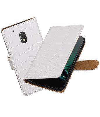 Wit Krokodil booktype voor Hoesje voor Motorola Moto G4 Play