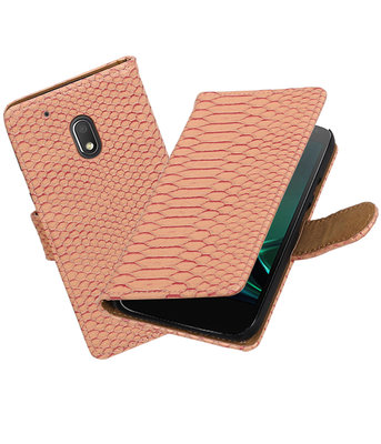 Roze Slang booktype voor Hoesje voor Motorola Moto G4 Play