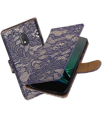 Blauw Lace booktype voor Hoesje voor Motorola Moto G4 Play