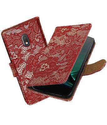 Rood Lace booktype voor Hoesje voor Motorola Moto G4 Play