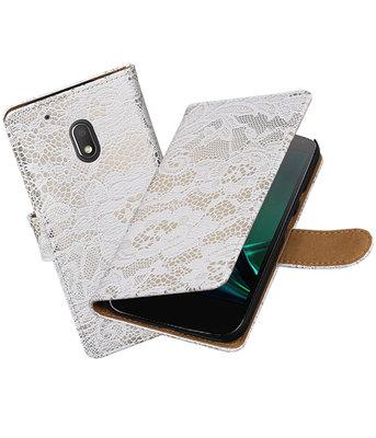 Wit Lace booktype voor Hoesje voor Motorola Moto G4 Play