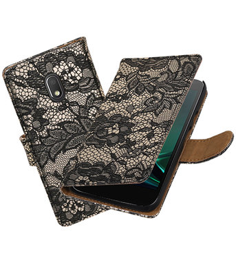Zwart Lace booktype voor Hoesje voor Motorola Moto G4 Play
