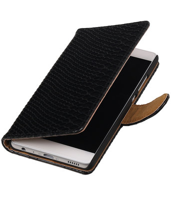 Zwart Slang booktype Hoesje voor Huawei Ascend Y600