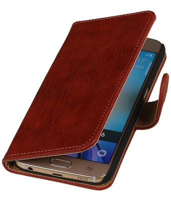 Rood Hout booktype Hoesje voor Huawei Ascend Y600