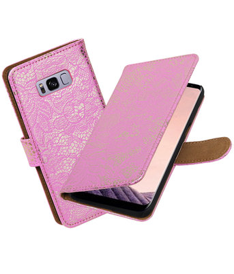 Hoesje voor Samsung Galaxy S8 Lace booktype Roze