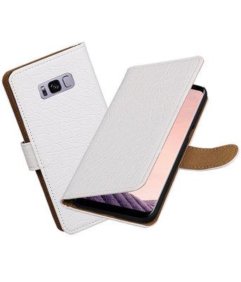Hoesje voor Samsung Galaxy S8+ Plus Krokodil booktype Wit